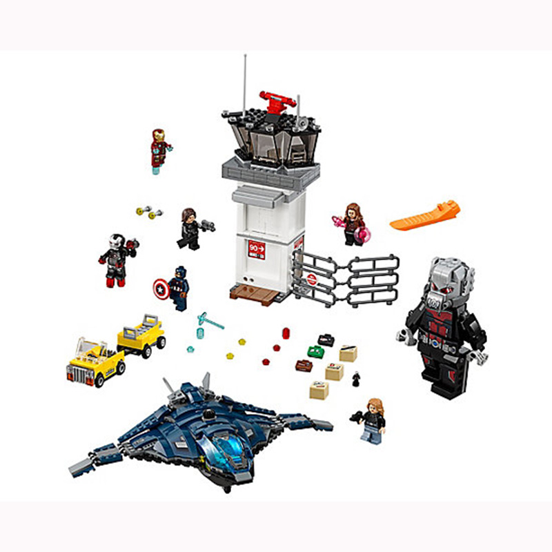 Marvel Super Hero Avengers Airport Battle Iron Man Giant Man Scarlet Witch Agent sim76051 kids gift Model Building Block set Toy