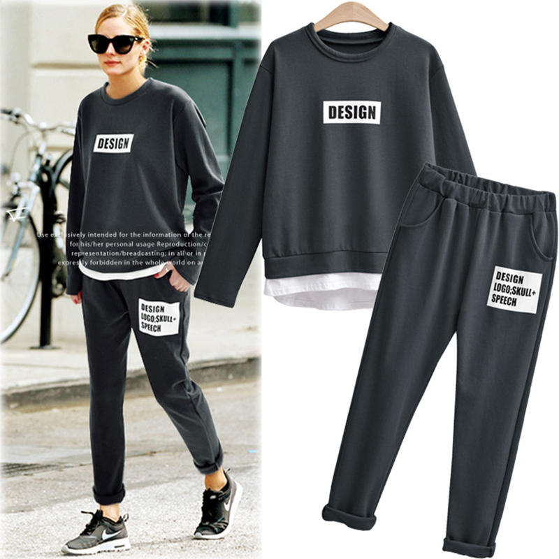 Casual Two Piece Set Tracksuit Trainingspak Sweat Suits Women Grey Beige O neck T shirt And