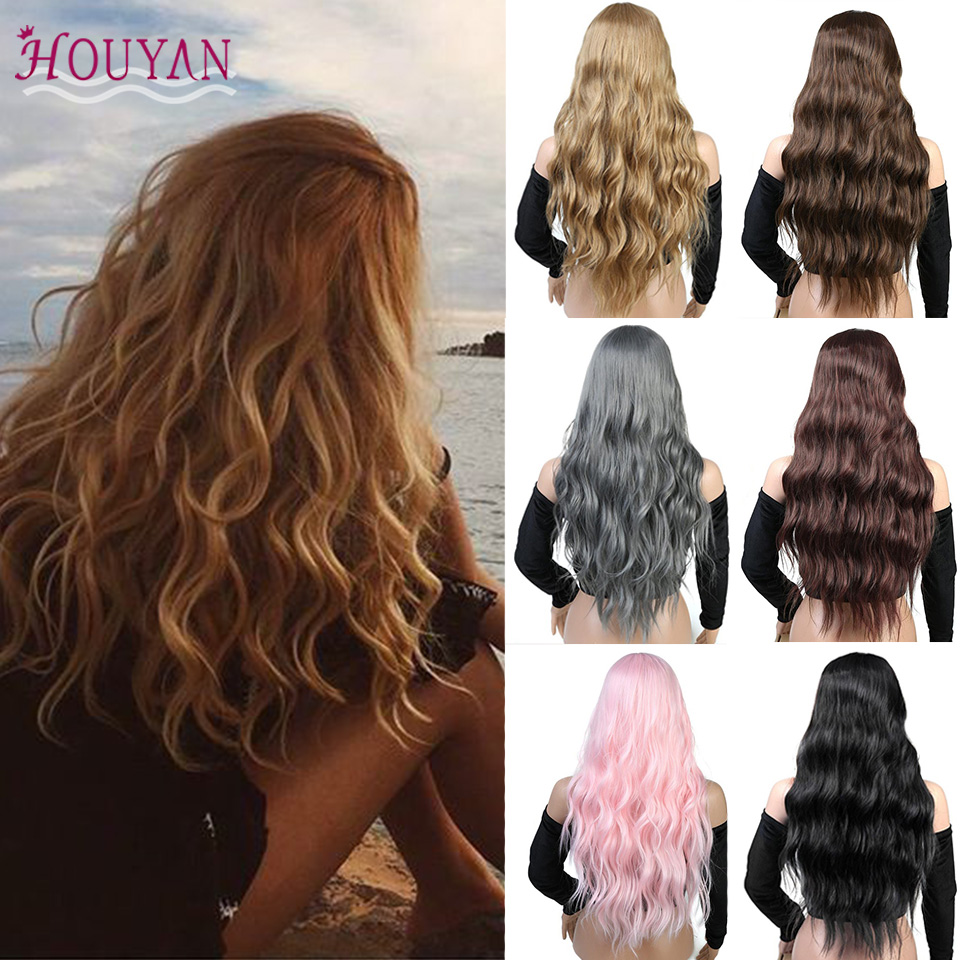 Houyan 26 Long Mix Body Wave Lace Purple Womens Wigs With Bangs Heat Resistant Synthetic Kinky Curly Wigs Suitable For Men And Children Women