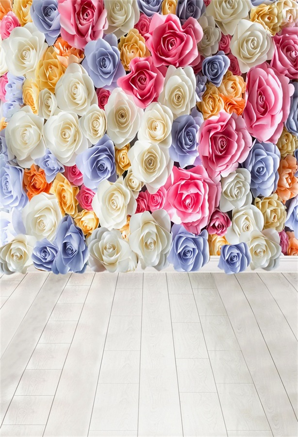 Laeacco Blooming Flowers Wall Wood Floor Baby Child Photography Backgrounds Vinyl Custom Photographic Backdrops For Photo Studio kate wood photography photography white brick wall backdrops gray wood floor baby backgrounds for photo shoot print cm 5674