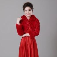 Livraison Gratuite Hiver À Manches Longues Rouge Femmes Veste Chaud Faux Fourrure Boléros De Mariage De Mariée Veste Manteau De Soirée