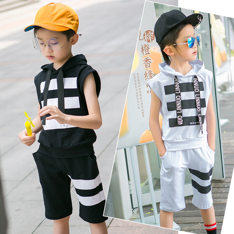2T-14T New Summer Hoodie Vest Shorts Set For Kids Boys Suits High Quality Cotton Big Striped Baby Teenage Clothes Sports Suit