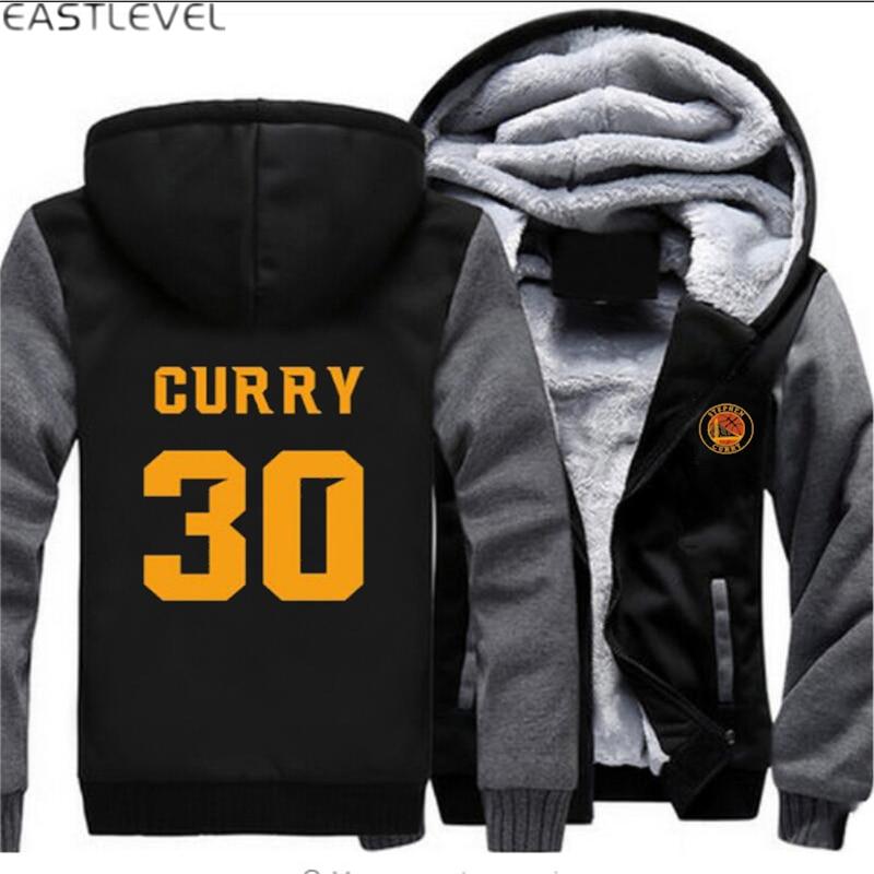 Dropshipping 2017 racksuit Stephen Curry 30 MVP À Capuche Hip Hop Sweat Veste D'hiver Lumineux Polaire Épaissir Hoodies Manteau