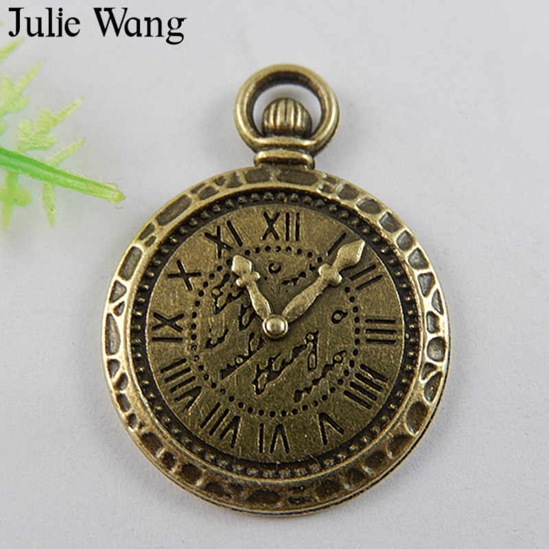 Julie Wang 6PCS Vintage Pocket Watch Clock Charms Antique Bronze Alloy Handmade Craft Decorate Pendants Jewelry Making Accessory