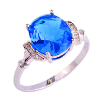 Wholesale Engagement Bridal Dazzling Blue & White Sapphire 925 Silver Ring Size 6 7 8 9 10 11 Women Popular Gift New Jewelry