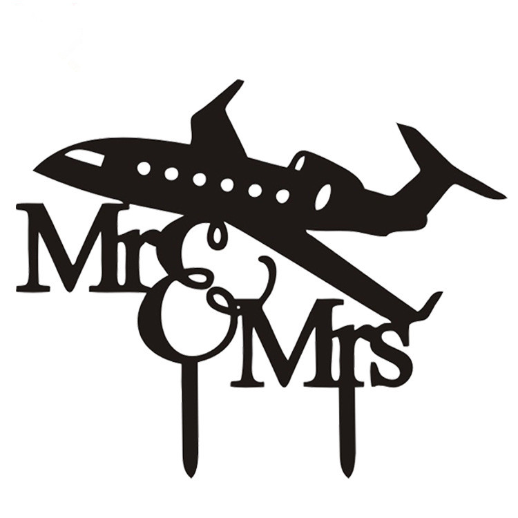 Airplane Mr & Mrs Acrylic Cake Flags Cake Topper Black White For Wedding Anniversary Party Cake Decoration Hot Sale