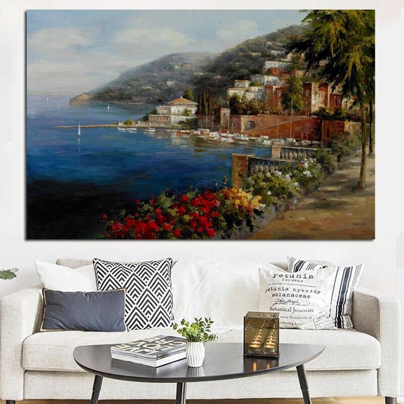 Abstracto Resort Mediterráneo paisaje pintura al óleo de paisaje de jardín sobre lienzo moderno cartel pared foto para la habitación