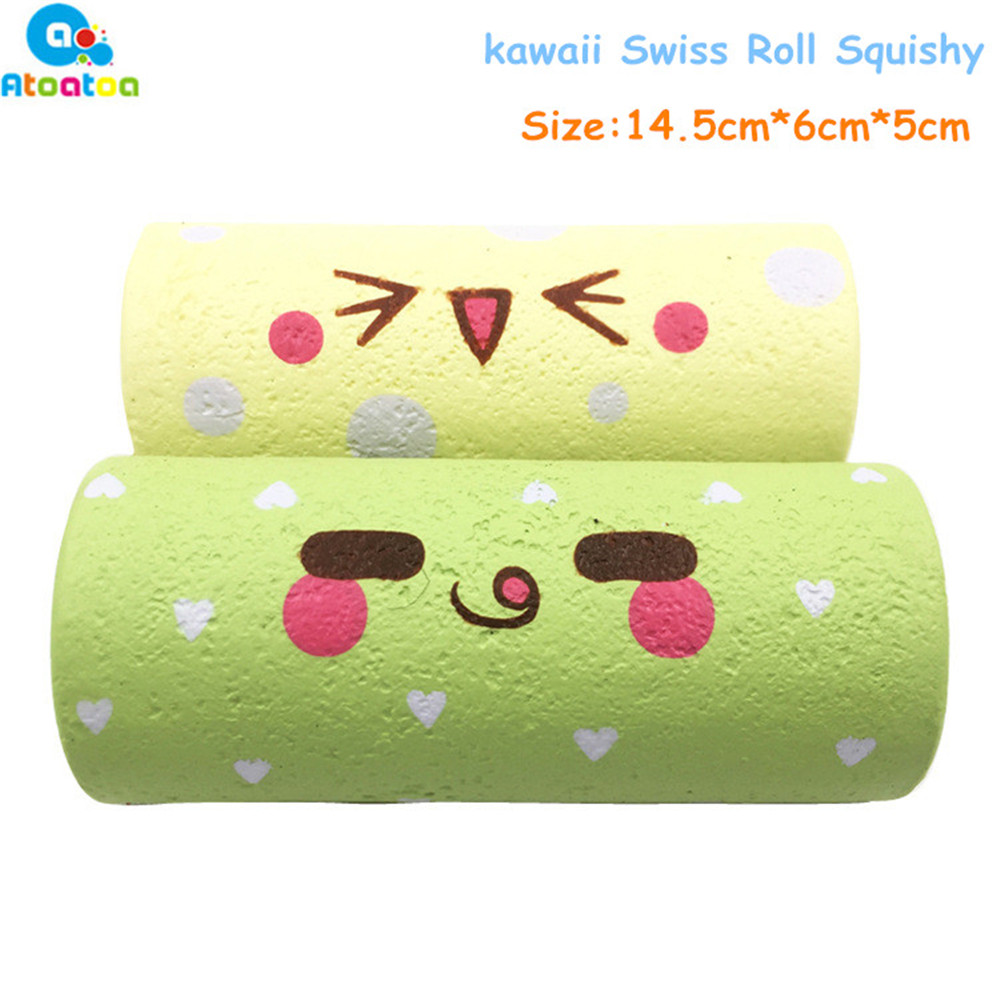 Kawaii Swiss Roll Squeeze Toys Elastic PU Slow Rising Antistress Stress Relief Squishes Toy for Kids Adult Christmas Gift