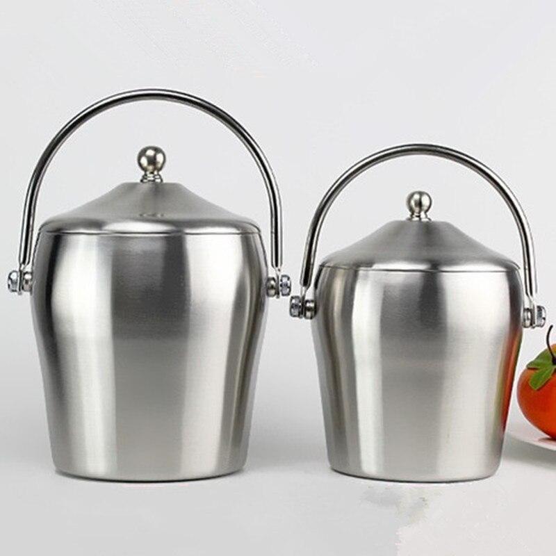Ведро для льда из нержавеющей стали с крышкой шампанское охлаждающее ведро для льда 1Л/2л пищевое ведро для льда кухонный комбайн инструмент
