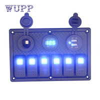 WUPP Car Electronics 12V 24V Car Switch Panel 6 Gang Waterproof Car Auto Boat Marine LED
