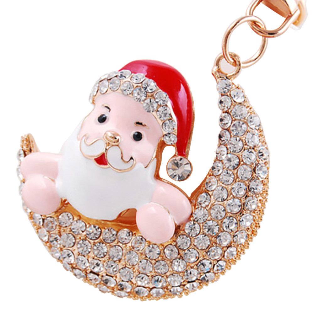 Merry Christmas Key Chain Rhinestone Christmas Gift Keychain For Women For Handbag Plush Keyring Bags Accessories se222