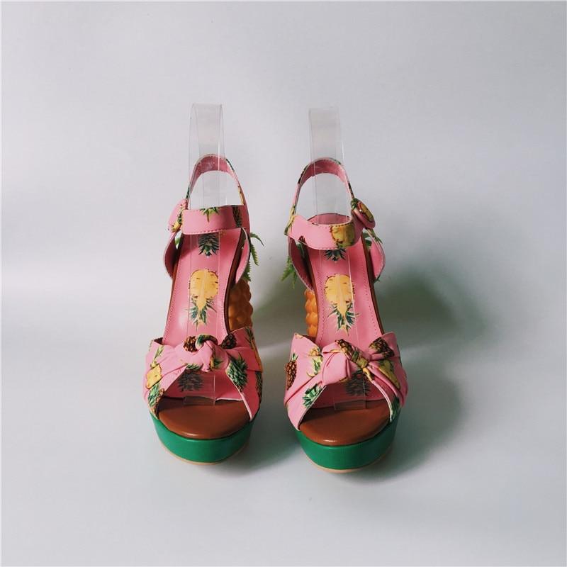 La forme Talons Stiletto Hauts Chaussure Rose Bride Femme Femmes Sandales Dames Chaussures Plate Cheville D'été Ananas Chunky À Sandalias wpOxqECY