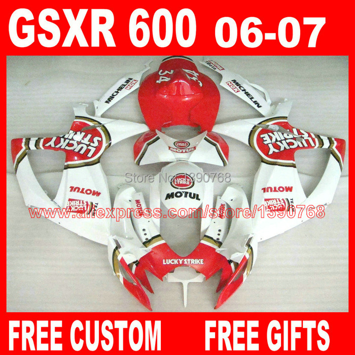 <font><b>Fairings</b></font> set for SUZUKI <font><b>GSXR</b></font> <font><b>600</b></font> 750 2006 2007 red white LUCKY STRIKE plastic bodywork K6 gsxr600 06 GSXR750 <font><b>07</b></font> <font><b>fairing</b></font> <font><b>kit</b></font> HV19 image
