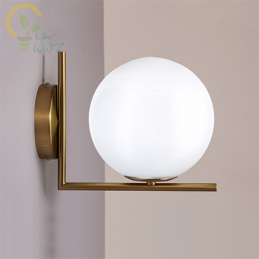 Modern Nordic Led Wall Lamps Round Glass Ball Wall Lights LED Indoor Lighting for Restaurant Living Room Bedroom CorridorModern Nordic Led Wall Lamps Round Glass Ball Wall Lights LED Indoor Lighting for Restaurant Living Room Bedroom Corridor