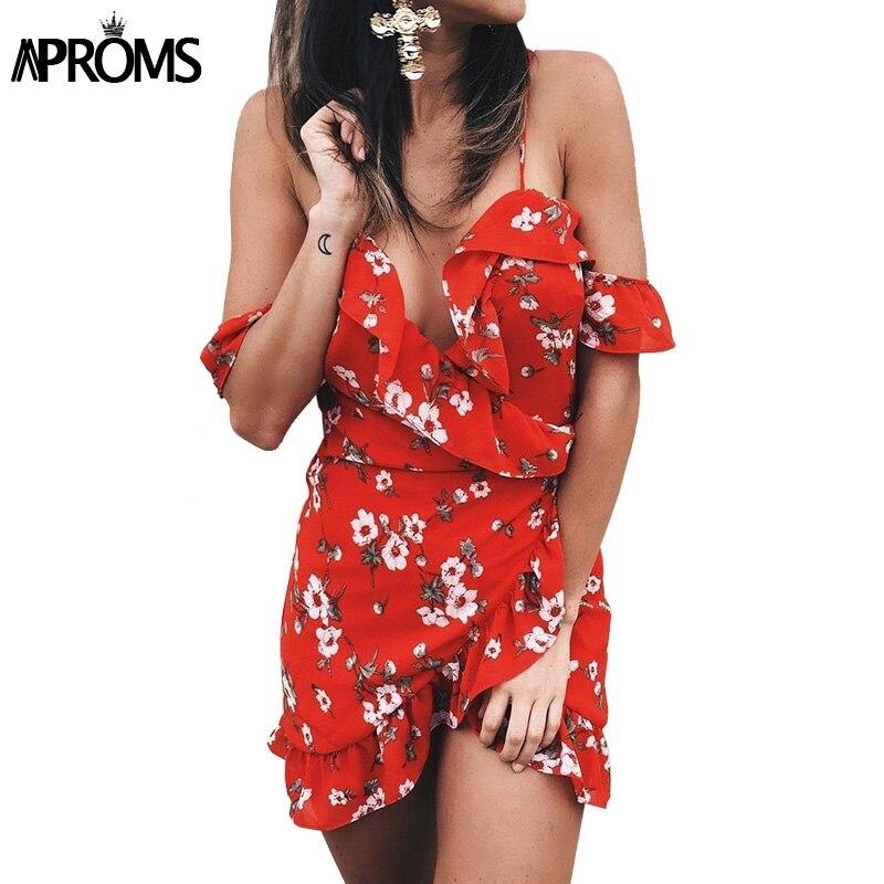 Elegant Off Shoulder Ruffle Floral Print Summer Dress Women High Waist Strap Beach Dress Boho Party Sexy Short Dresses Vestidos