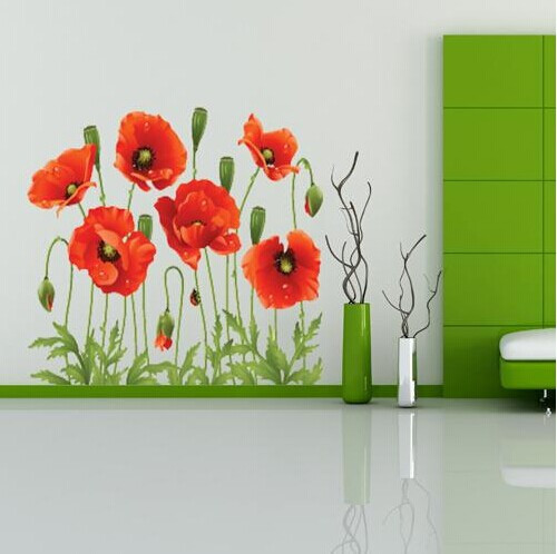 Big Discount Red Poppy Removable Wall Decals Home Decor Art Flower Vinyl Mural Wall