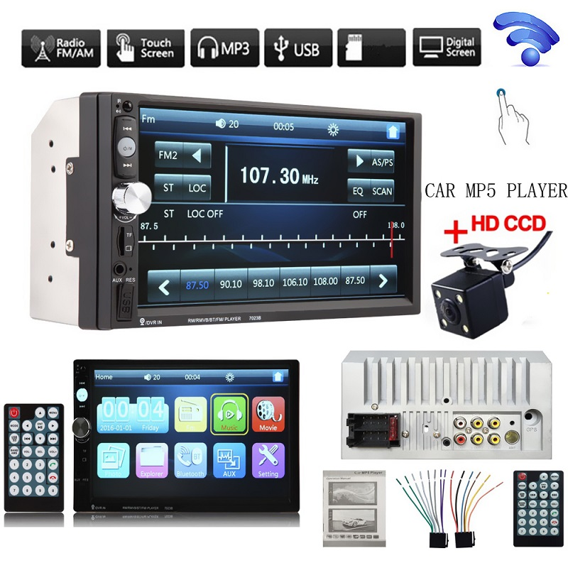 7 Inch HD Bluetooth Auto Car Stereo Radio In-Dash Touchscreen 2 DIN USB AUX FM MP5 Player + Night Vision Camera + Remote control 7 hd 2din car stereo bluetooth mp5 player gps navigation support tf usb aux fm radio rearview camera fm radio usb tf aux