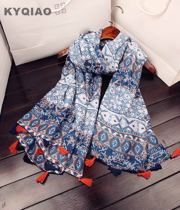 20e5e1ed22c2 Click here to Buy Now!! KYQIAO Hijab ethniques écharpe 2018 femmes automne  hiver Espagne style long ...