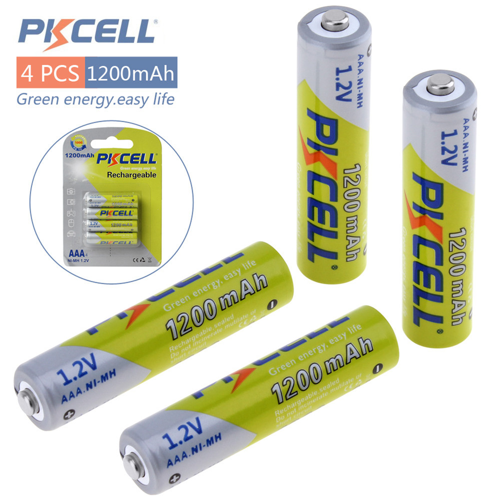 4pcs Pkcell 1.2V AAA Ni-Mh 1200mAh Rechargeable Batteries High Capacity Batteries Set With 1000 Cycle