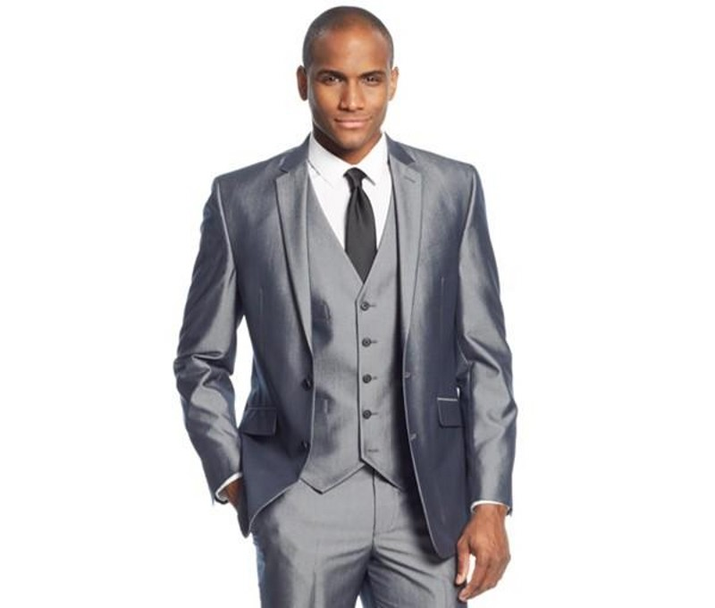 Silver Grey 3 Pieces Mens Suits Two Buttons Wedding Suits for Men Groom Tuxedos Business Formal Suit (Jacket+Pants+vest+tie)