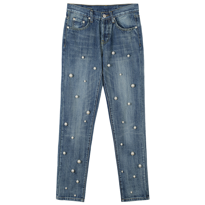 2018 Spring summer new fashion high waisted washable trousers pearly all-match skinny jeans Runway Fashion Women Trousers Jeans harajuku new fashion women casual high waisted casual holes skinny jeans