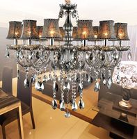12 Light Modern Smoky Grey Chandelier Lighting Crystal Chandelier Light Living Room Lights Living Room Crystal