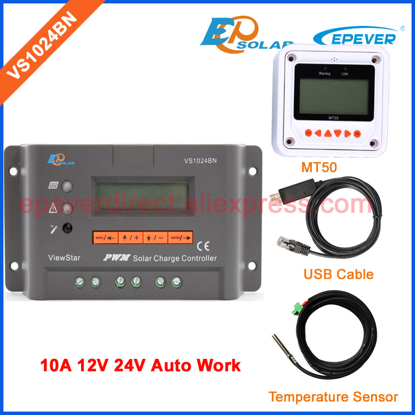 VS1024BN 24V solar panel system solar EPEVER controller USB cable+temperature sensor  MT50 remote meter 10A 10amps 12V 20a 12 24v solar regulator with remote meter for duo battery charging