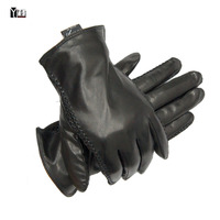 2016 New Winter Free Shipping Man Genuine Leather Gloves Male Warm Goat Skin Leather Gloves Black