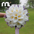 20pcs/30pcs Calla Lily White Purple Bridal Flower Wedding Bouquet 2017 Romantic Bouquets De Mariage Ribbon Wedding Decoration