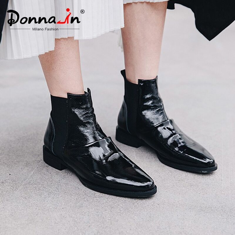 Donna in Flat Genuine Leather Boots Autumn Winter 2019 Women Ankle Boots Pleated Pointed toe Chelsea boots Fashion female Shoes-in Ankle Boots from Shoes    1