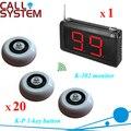 Servicio de restaurante Wireless sistema de megafonía 1 monitor con 20 botón de bell para invitados uso envío gratis