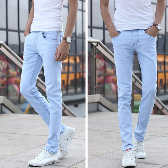 c5907fc4 New Fashion Mens Jeans Men's Casual Stretch Skinny Jeans Trousers Tight  Pants Solid Colors Slim Jeans Men's Trousers