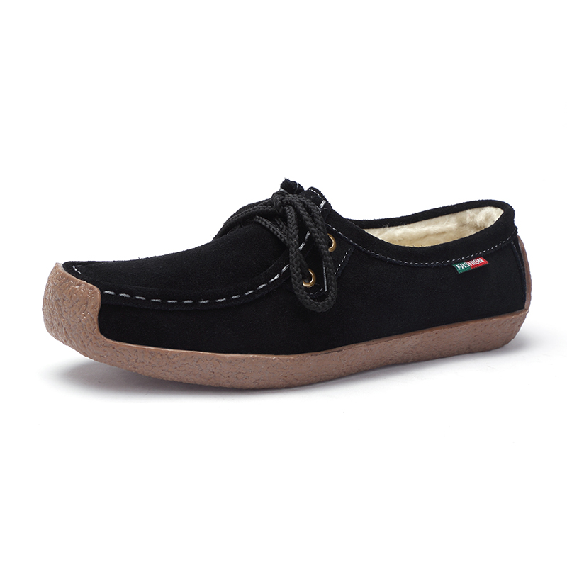 Spring Plush Boat Shoe Cow Leather Women Flats Suede Slip on Fringe - Zapatos de mujer - foto 3