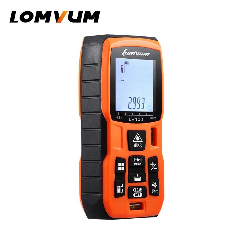 LOMVUM BatteryPowered Laser Lineal Entfernungsmesser Digitale Handheld Abstand Vermesser Range Finder Lazer Metreler Messung