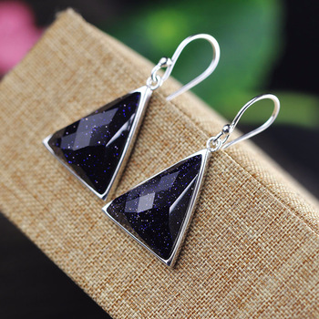 2018 Earings Fashion Jewelry Of Earrings Are Pure Handmade Sterling Jewelry Wholesale S925 Triangle Section Lady Sand Stone