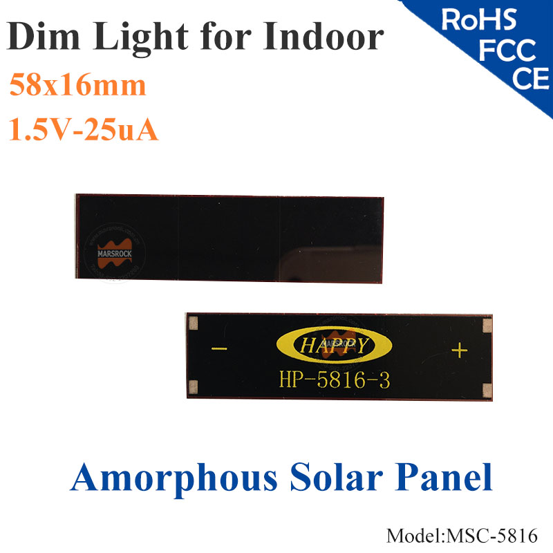 58x16mm 1 5 v 25ua dim luz vidro ito de celulas solares de silicio amorfo de