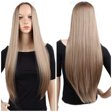JOY&BEAUTY Brown Ombre Blonde Long Straight Synthetic Wig 28inch/72cm High Tempe