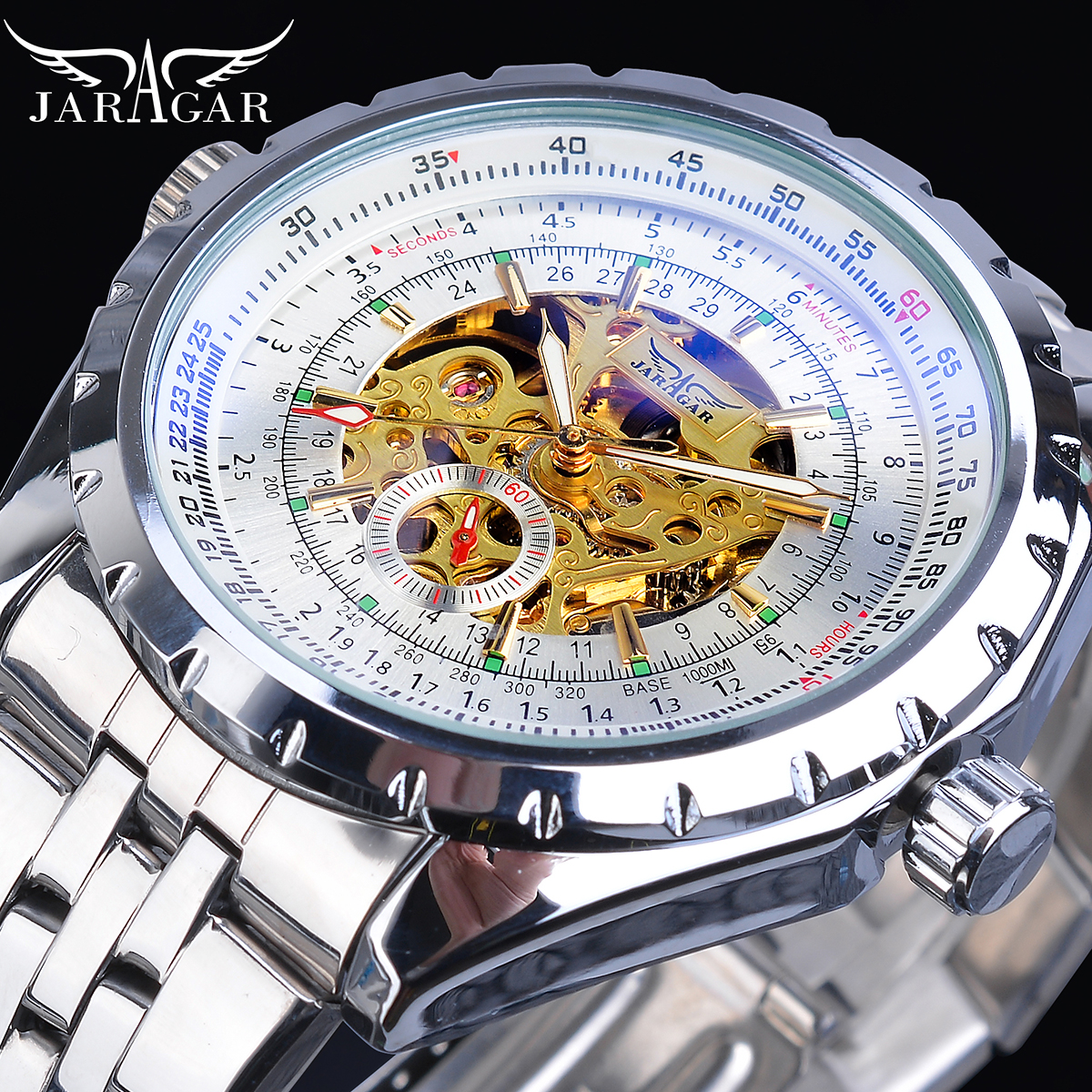 Jaragar Men Watches Automatic 2019 Silver White Male Steel Band Self-Wind Mechanical Watch Analog Sport Army Military Wristwatch