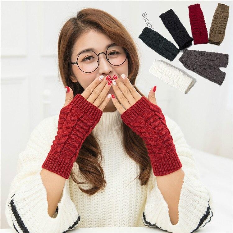 Muqgew Frauen Warme Winter Schädel Handschuhe Fäustlinge Gestrickte Handschuhe Fingerlose Handschuhe Winter Armlinge Geschenk Armstulpen
