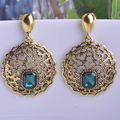 Anti Gold Plated Round Drop Earrings For Women Turkish Jewelry Vintage Blue Dangle Earring Orecchini Boucle d'oreille Femme