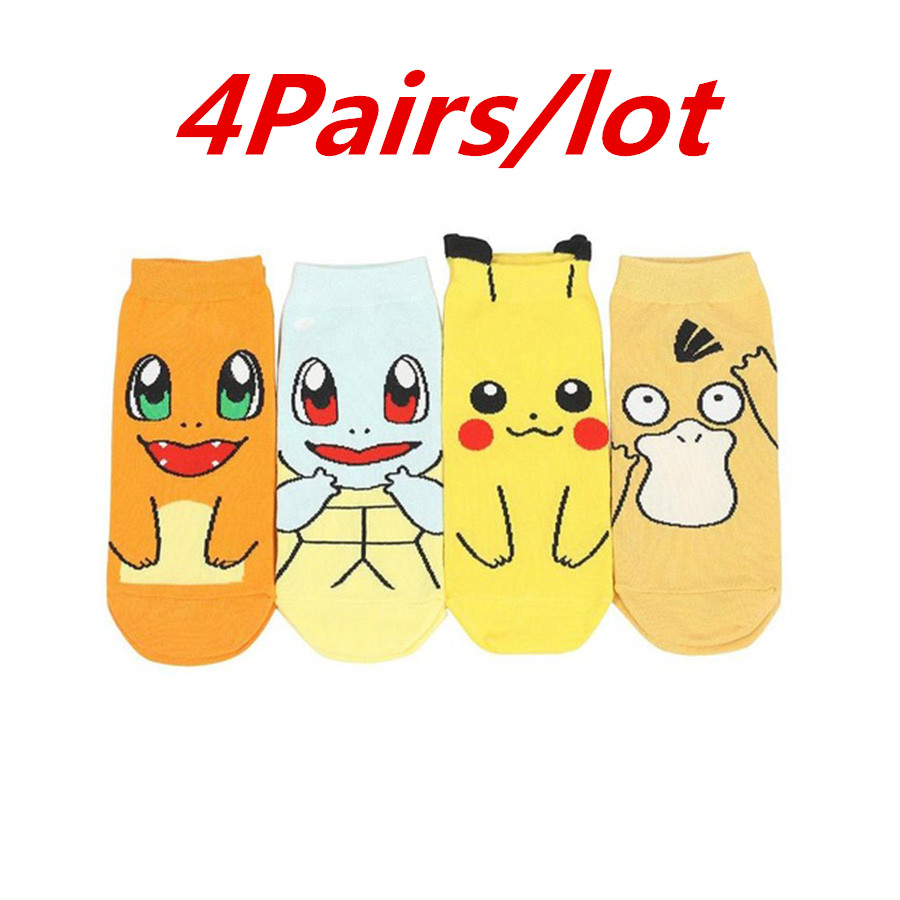 4Pairs/lot Anime Pokemon Go Pikachu Sock Cheap Wholesale Cotton Jacquard Sox Japanese Charmander Novelty Harajuku Funny Socks