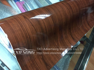 Image 5 - 10/20/30/40/50/60x152CM Glossy WOOD PVC VINYL FILM GLOSSY WOOD GRAIN STICKER FOR CAR INTERIOR DECORATION BY FREE SHIPPING