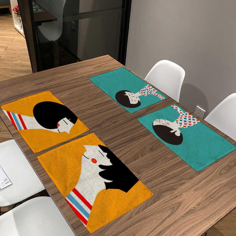 الصينية زوجين عشاق النقاط الجدول منديل الأسود و البيج مخطط تحديد الموقع إلكتروني ارتفع الجدول حصيرة ديكور الطعام قاعة البيت