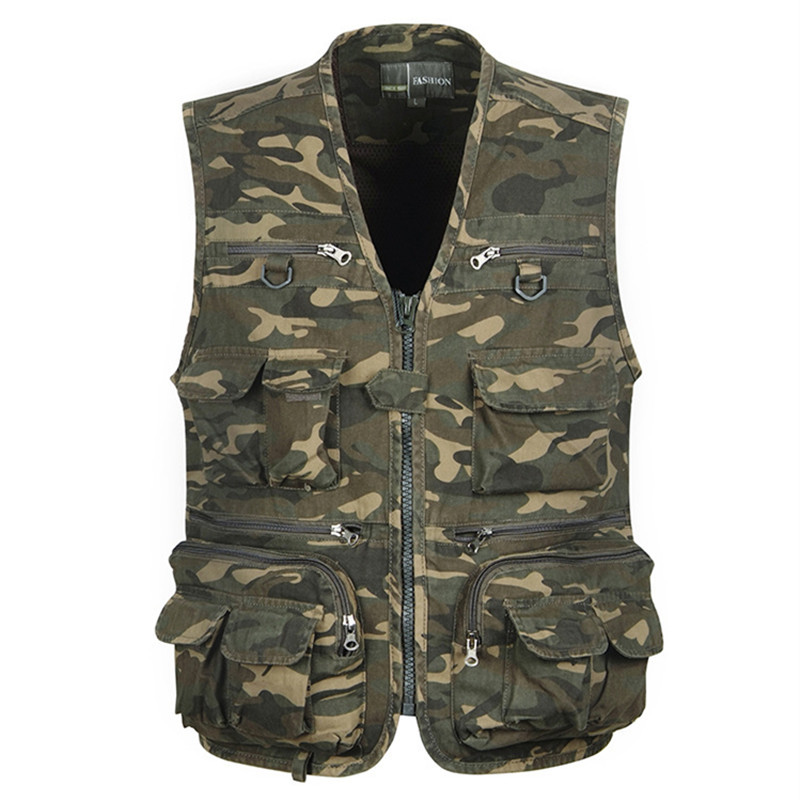 Tactical Vest L-4XL Men Outdoor Fishing Vest Sleeveless Fishing Jacket Multi-Pockets Hunting Vest Colete Tatico Fly Fishing Vest