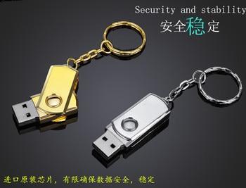 цена на USB Flash Drive 4gb 8gb 16gb 32gb 64gb Gold Silver usb 2.0 pendrive pen drive With Key Ring memory stick metal u disk Best Gift
