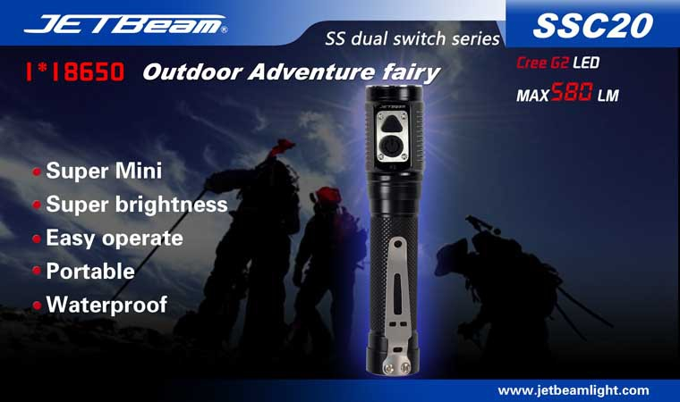 Free Shipping Original JETBEAM SSC20 Cree G2 LED 580 lumens flashlight daily torch Compatible with CR123 18650 battery free shipping original jetbeam 3m cree xm l2 led 560 lumens flashlight daily edc torch compatible with cr123 18650 battery