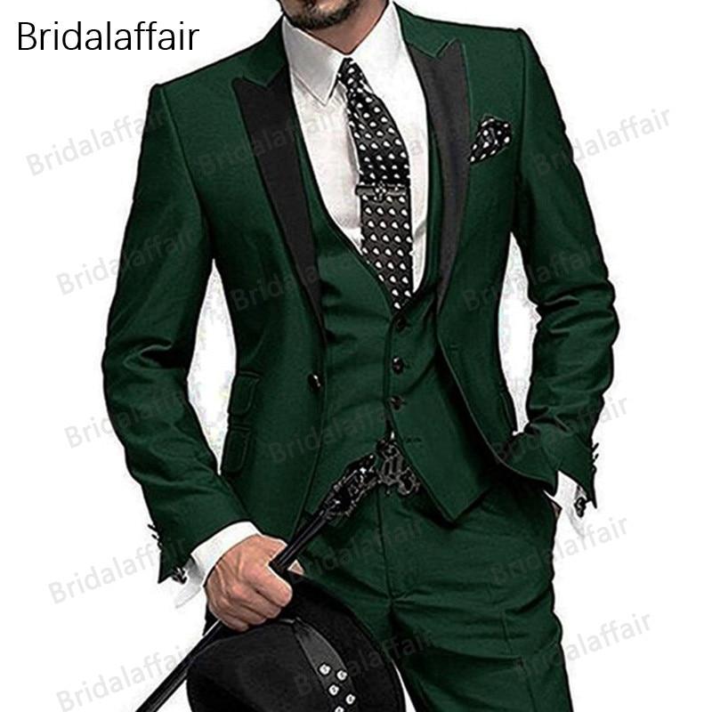 Wspaniałe Groom smokingi garnitur 2018 wykonane na zamówienie zielone męskie garnitury Terno Slim Fit z daszkiem Lapel Groomsmen mężczyźni garnitury ślubne 2018 w Garnitury od Odzież męska na  Grupa 1