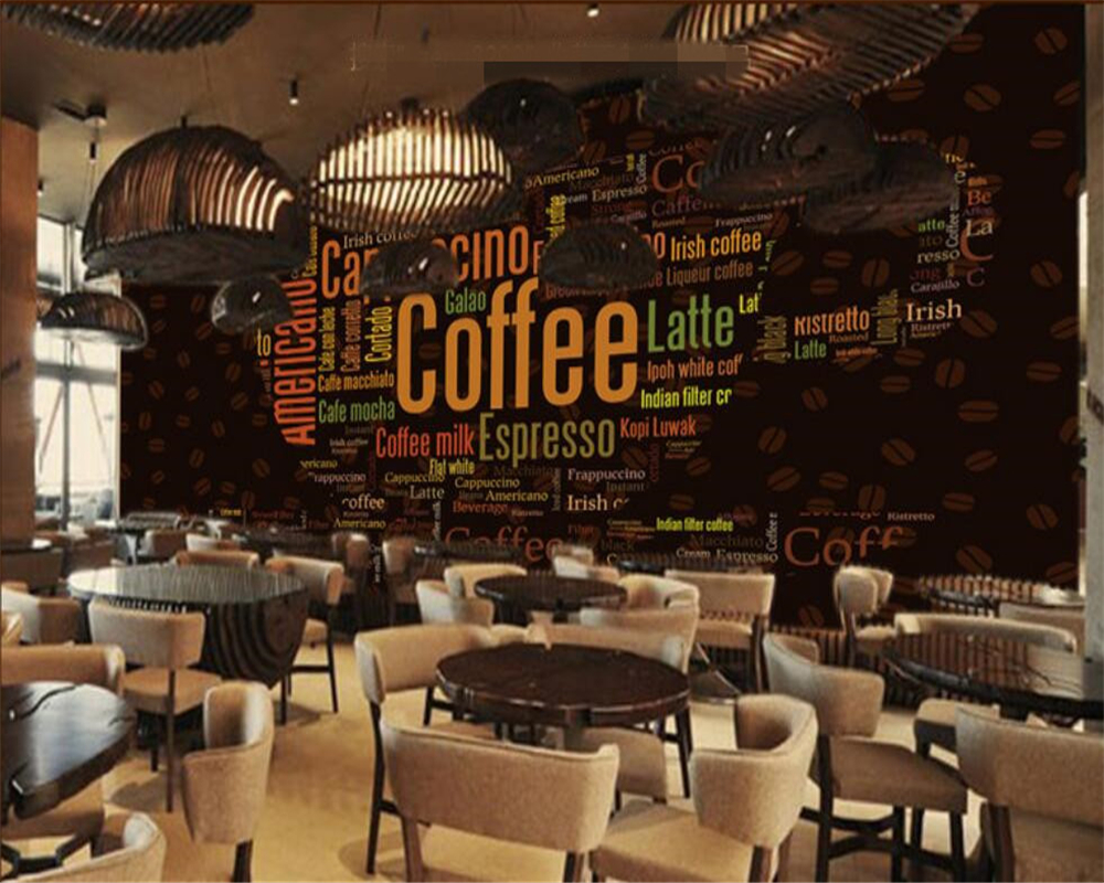 beibehang Custom 3d photo wall paper Alphabet coffee cup Coffee shop decorative background wallpaper for walls 3 d papier peint 自宅 ワイン セラー