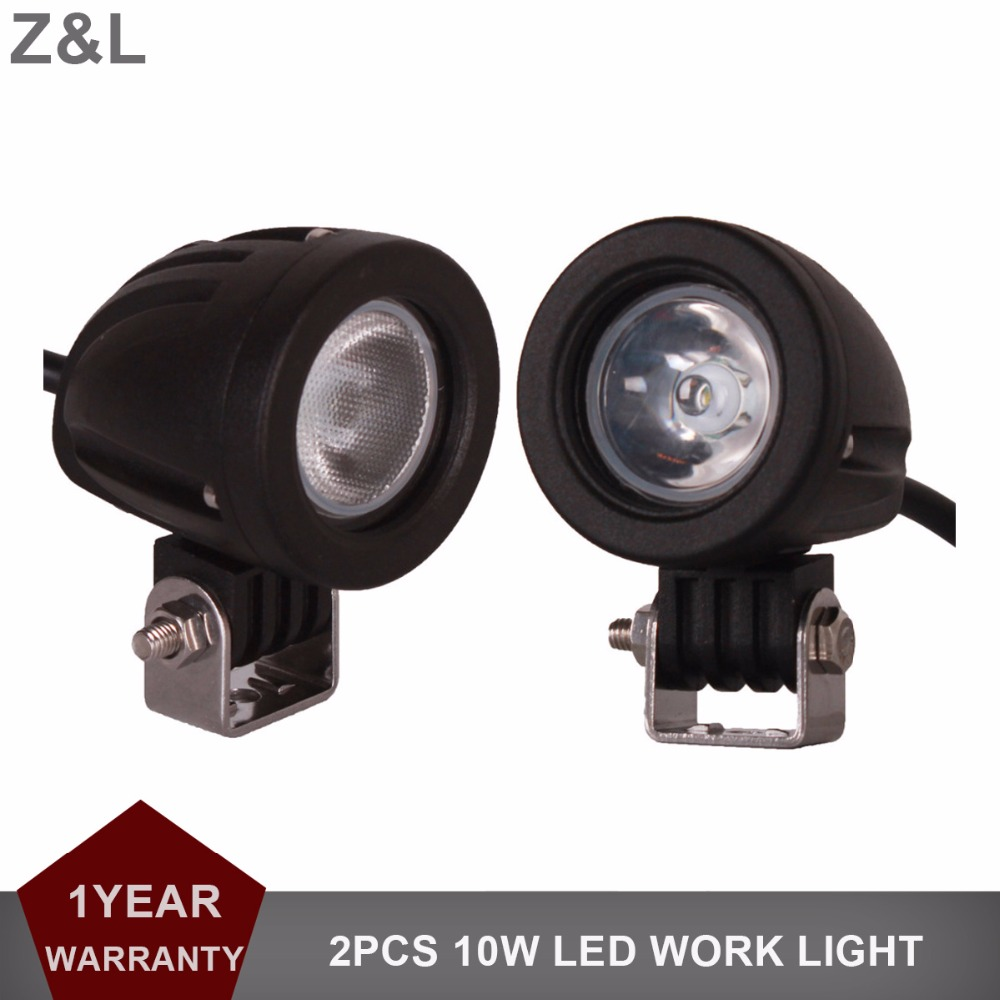 2pcs 10W LED Work Light Offroad Car Auto Truck ATV Motorcycle Trailer Bicycle 4WD 4X4 Fog Lamp Spot Flood Beam Driving Headlight