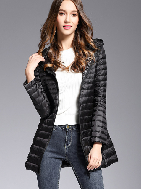 Woman Spring Padded Hooded Long Jacket White Duck Down Female Overcoat Ultra Light Slim Solid Jackets Coat Portable Parkas 3